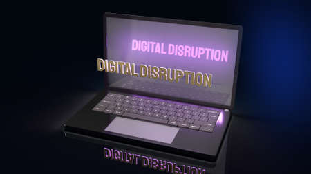 The digital disruption on laptop  for technology content 3d rendering. Stock fotó