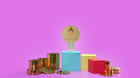 The Ethereum coins and gold coins on purple background 3d rendering.