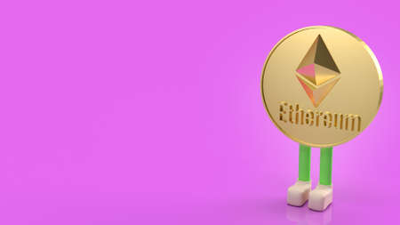 The Ethereum coins on purple background 3d rendering. Stock fotó