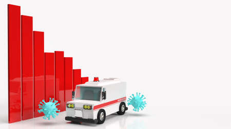 The ambulance car virus and chart  3d rendering