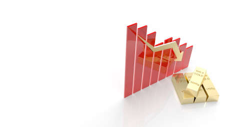 The gold bar and chart arrow down for gold price content 3d rendering Stock fotó