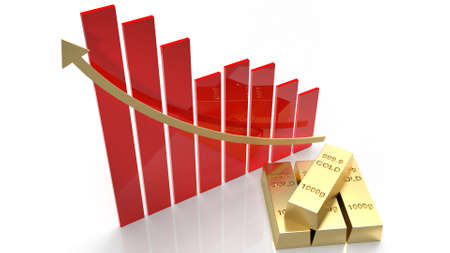 The gold bar and chart arrow up for gold price content 3d rendering Stock fotó