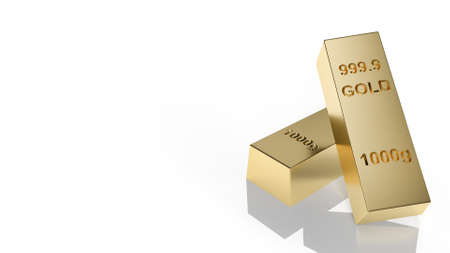 The gold bar on white background 3d rendering 免版税图像