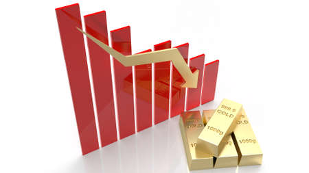 The gold bar and chart arrow down for gold price content 3d rendering 免版税图像