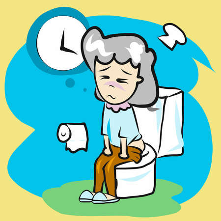 A woman sit in bathroom for constipation content.