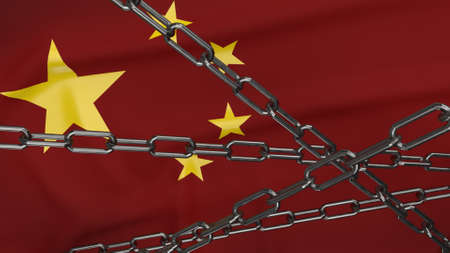 The china flag and chain for business content 3d rendering. 免版税图像