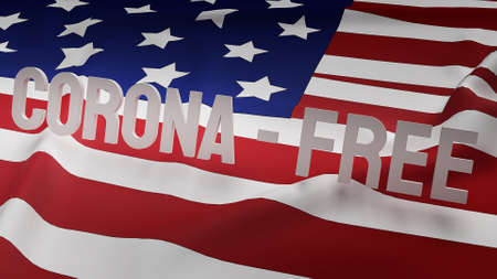 The word corona free on Usa  flag  for corona virus content 3d rendering.