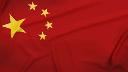 The china flag close up image for business content  3d rendering.