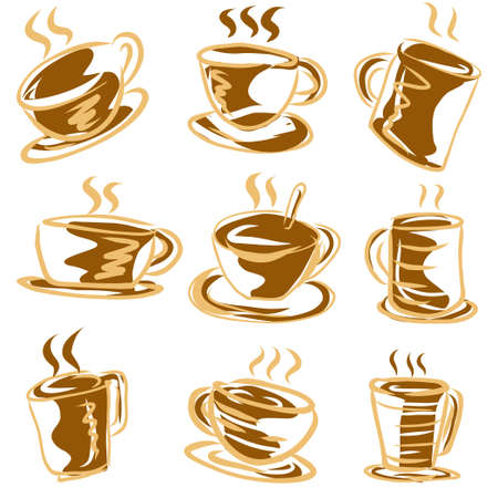 The  coffee cup vector collection for cafe content.