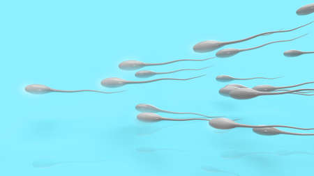 The  Sperm on blue background for sci content 3d rendering. 免版税图像