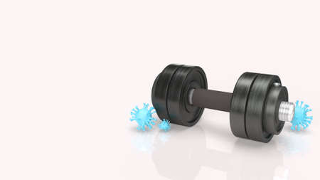 The dumbbell and  virus on white background for medical content 3d rendering. 免版税图像