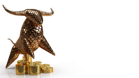 The gold bull and coins on white background for business content 3d rendering. 免版税图像