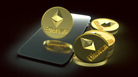 The  ethereum coins and smart phone for business content 3d rendering.