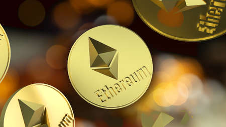 The  ethereum coins in black background for business content 3d rendering. 免版税图像