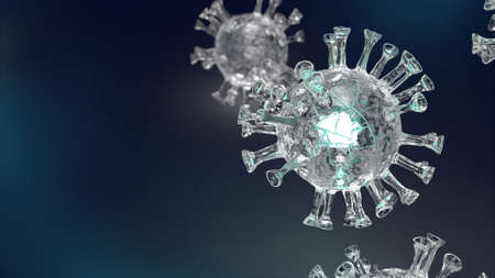 The clear virus in black background  for  coronavirus content 3d rendering