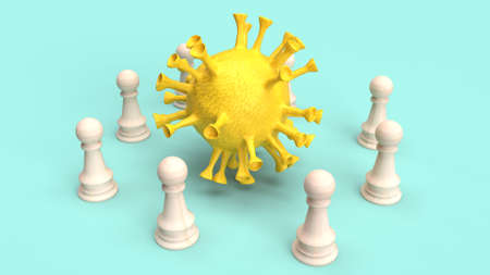 The yellow virus and wood chess for  coronavirus content 3d rendering 免版税图像