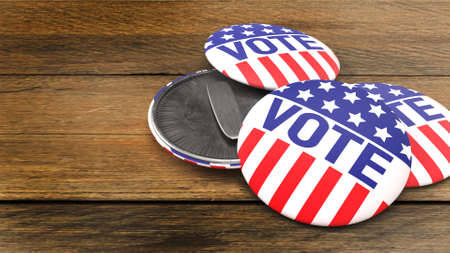 The American vote badge on wood table for social content 3d rendering 免版税图像