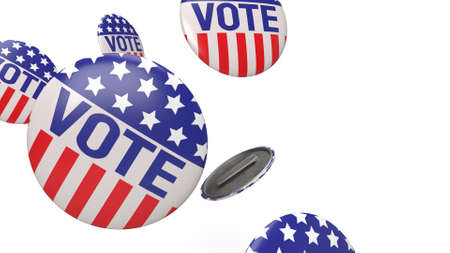 The American vote badges on white background for social content 3d rendering