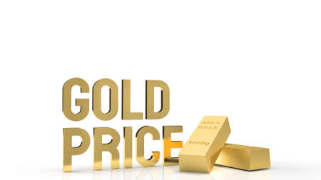 The gold price word and gold bar for gold market content 3d rendering 免版税图像