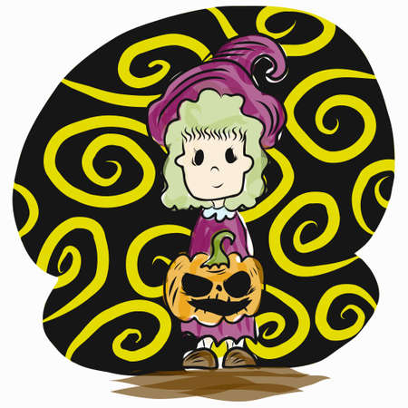 The  jack o lantern and kid dress witch suit for halloween content.