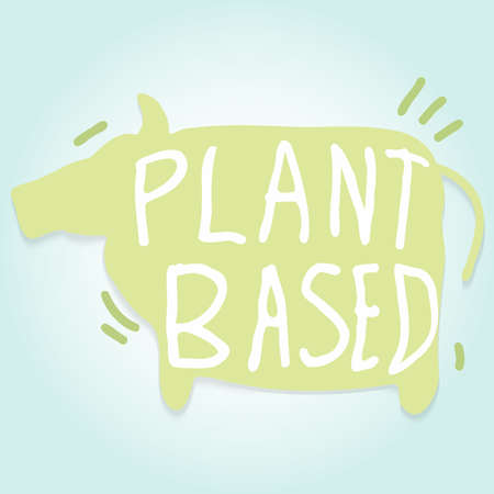 The cow paper cut and word plant based for food content.