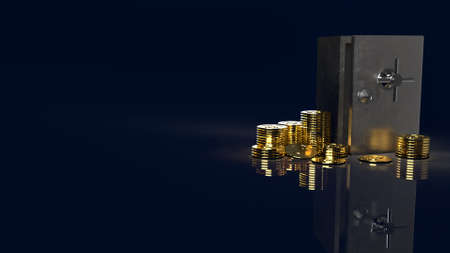The safe box and gold coins in dark background for security content 3d rendering