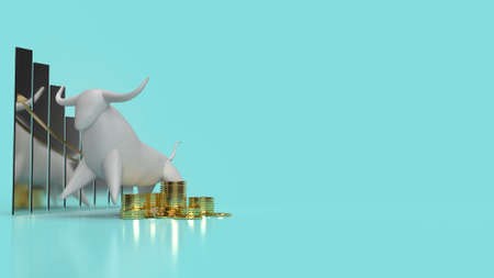 The white stone bull on blue background for business content 3d rendering. 写真素材 - 156322712