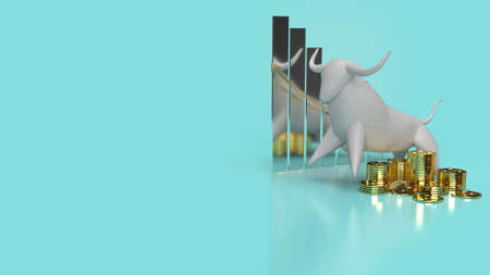 The white stone bull on blue background for business content 3d rendering.