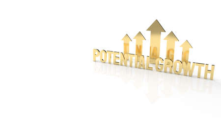 The gold text  potential growth on white background for business content 3d rendering.