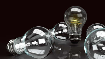 The light bulb in the dark for idea or business content 3d rendering.