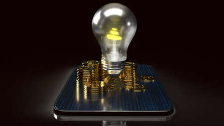 The light bulb and gold coins on tablet for idea or business content 3d rendering.