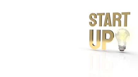 The light bulb and start up text for idea content 3d rendering.