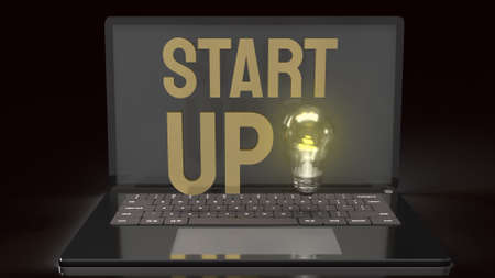 The light bulb and start up text  on notebook for idea content 3d rendering.