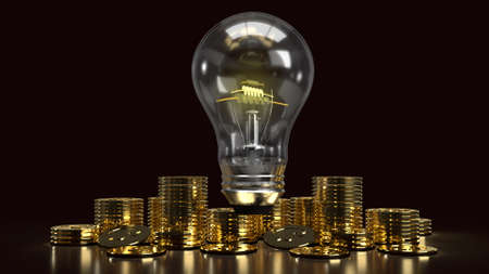The light bulb and gold coins in the dark for idea or business content 3d rendering.