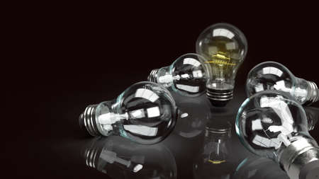 The light bulb in the dark for idea or business content 3d rendering. 写真素材 - 156322782