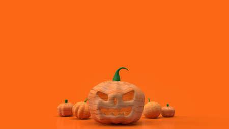 jack o lantern  and pumpkin on orange background for halloween content 3d rendering.