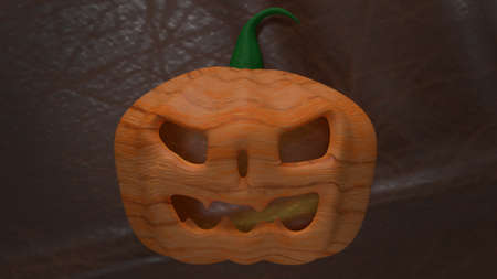 jack o lantern  on cow leather  background for halloween content 3d rendering. 写真素材