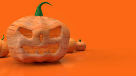 jack o lantern  and pumpkin on orange background for halloween content 3d rendering. 写真素材 - 156269967