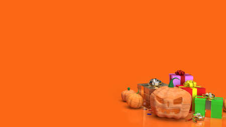 The jack o lantern  and gift box  on orange background for halloween content 3d rendering.