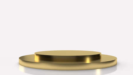 The gold Podium platform on white background 3d rendering. 写真素材 - 156430720