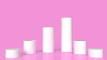 The white Podium platform on pink background 3d rendering.