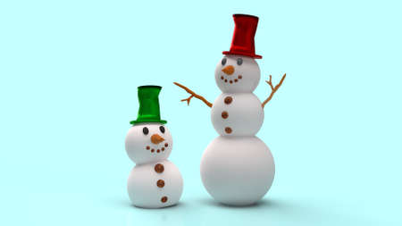 The snowman on blue background for Christmas content 3d rendering. 写真素材