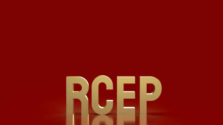 gold text rcep or Regional Comprehensive Economic Partnership is free trade agreement Asia on red background 3d rendering.