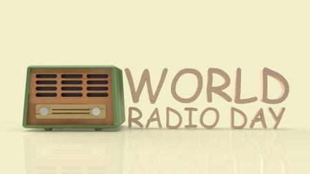 retro radio for world radio day content 3d rendering.