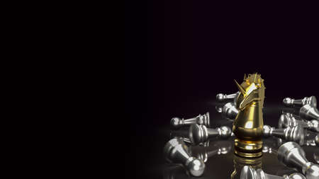 gold unicorn chess for start up business content 3d rendering