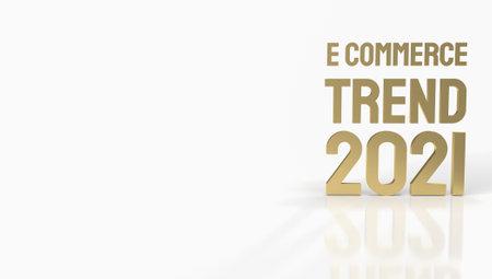 gold e commerce on white background for online marketing 3d rendering.