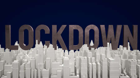 text lockdown and city building for medical content 3d rendering 写真素材