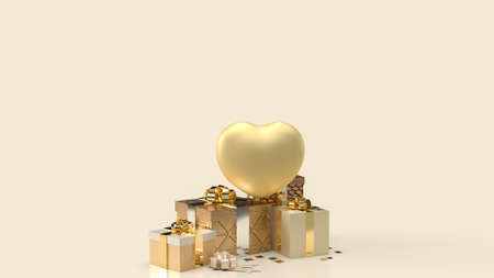 gold heart and gift boxes for celebration content 3d rendering