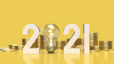 number 2021 and gold coins  on yellow background 3d rendering.