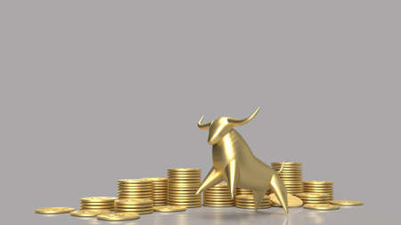 Gold bull and coins group for business content 3d rendering.